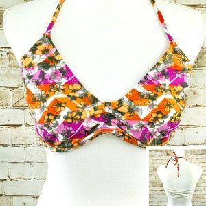 NWT BP XL Floral Print Bikini Top Strappy Back